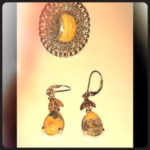 bumblebee jasper ring &  earrings
